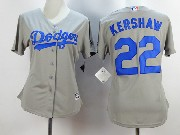 Women  Mlb Los Angeles Dodgers #22 Kershaw Gray Jersey