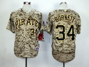 Mens Mlb Pittsburgh Pirates #34 Burnett Cole Camouflage Painting Jersey