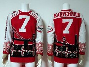 mens nfl San Francisco 49ers #7 Colin Kaepernick red crew neck pullover ugly sweater