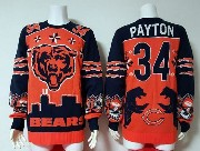 mens nfl Chicago Bears #34 Walter Payton orange crew neck pullover ugly sweater