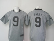 mens nfl New Orleans Saints #9 Drew Brees gray (black number) limited jersey