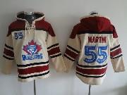 Mens Mlb Toronto Blue Jays #55 Martin Cream Hoodie Jersey