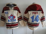 Mens Mlb Toronto Blue Jays #14 Price Cream Hoodie Jersey