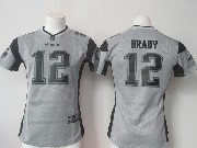 women  nfl New England Patriots #12 Tom Brady gray (black number) limited jersey