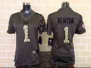 women  nfl Carolina Panthers #1 Cam Newton green salute to service limited jersey