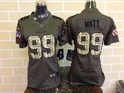 women  nfl Houston Texans #99 JJ Watt green salute to service limited jersey