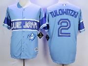 Mens Mlb Toronto Blue Jays #2 Tulowitzki Light Blue 2015 Cool Base Vintage Jersey
