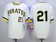 Mens Mitchell&ness Mlb Pittsburgh Pirates #21 Roberto Clemente White Throwbacks Pullover Jersey