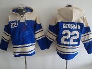 Mens Mlb Los Angeles Dodgers #22 Kershaw Blue Hoodie Jersey