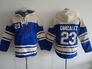 Mens Mlb Los Angeles Dodgers #23 Gonzalez Blue Hoodie Jersey