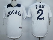 Mens Mlb Chicago White Sox #2 Fox White 1976 Turn Back The Clock Throwbacks Pullover Jersey