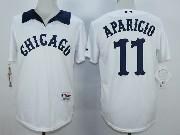 Mens Mlb Chicago White Sox #11 Aparicio White 1976 Turn Back The Clock Throwbacks Pullover Jersey
