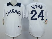 Mens Mlb Chicago White Sox #24 Wynn White 1976 Turn Back The Clock Throwbacks Pullover Jersey
