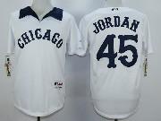 Mens Mlb Chicago White Sox #45 Jordan White 1976 Turn Back The Clock Throwbacks Pullover Jersey