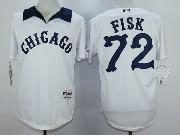 Mens Mlb Chicago White Sox #72 Fisk White 1976 Turn Back The Clock Throwbacks Pullover Jersey