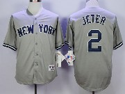 Mens Mlb New York Yankees #2 Jeter Gray Jersey