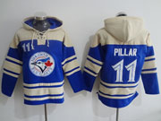 Mens Mlb Toronto Blue Jays #11 Pillar Blue Hoodie Jersey