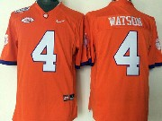 Mens Ncaa Nfl Clemson Tigers #4 Watson Orange Jersey