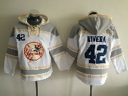 Mens Mlb New York Yankees #42 Rivera White&gray (team Hoodie) Jersey