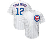 Mens Majestic Chicago Cubs #12 Kyle Schwarber White Stripe Cool Base Jersey