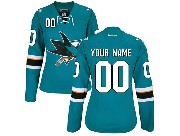 Women Nhl San Jose Sharks (custom Made) Green Jersey