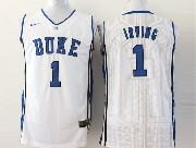 Mens Ncaa Nba Duke Blue Devils #1 Irving White Jersey Sn
