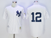 Mens Mlb New York Yankees #12 Wade Boggs White Stripe 1996 Throwbacks Jersey