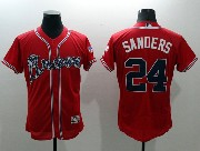 mens majestic atlanta braves #24 sanders red Flex Base jersey