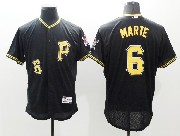 mens majestic pittsburgh pirates #6 starling marte black Flex Base jersey