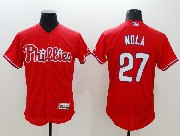 mens majestic philadelphia phillies #27 aaron nola red Flex Base jersey