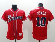 mens majestic atlanta braves #10 chipper jones red Flex Base jersey