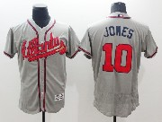 mens majestic atlanta braves #10 chipper jones gray Flex Base jersey