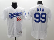 mens majestic los angeles dodgers #99 hyun-jin ryu white Flex Base jersey