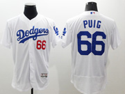 mens majestic los angeles dodgers #66 yasiel puig white Flex Base jersey