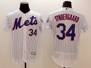 mens majestic new york mets #34 noah syndergaard white stripe Flex Base jersey