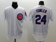 mens majestic chicago cubs #24 dexter fowler white stripe Flex Base jersey