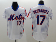 mens majestic new york mets #17 keith hernandez white stripe pullover Flex Base jersey