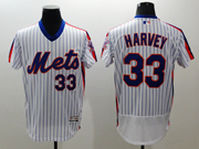 mens majestic new york mets #33 matt harvey white stripe pullover Flex Base jersey