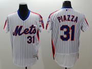 mens majestic new york mets #31 mike piazza white stripe pullover Flex Base jersey