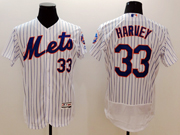 mens majestic new york mets #33 matt harvey white stripe Flex Base jersey