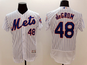 mens majestic new york mets #48 jacob degrom white stripe Flex Base jersey