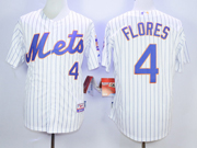 Mens mlb new york mets #4 flores white (blue stripe) Jersey