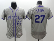 mens majestic colorado rockies #27 trevor story gray Flex Base jersey