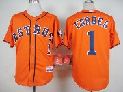 Mens Mlb Houston Astros #1 Carlos Correa Orange Jersey