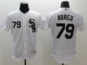 mens majestic chicago white sox #79 jose abreu white stripe Flex Base jersey