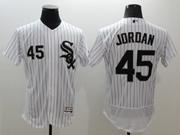 mens majestic chicago white sox #45 michael jordan white stripe Flex Base jersey