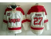 Mens Mlb Los Angeles Angels #27 Mike Trout White Hoodie Jersey