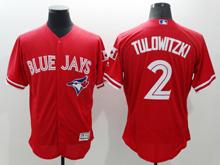 mens majestic toronto blue jays #2 troy tulowitzki red Flex Base jersey