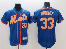 mens majestic new york mets #33 matt harvey blue Flex Base jersey