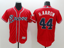 mens majestic atlanta braves #44 hank aaron red Flex Base jersey